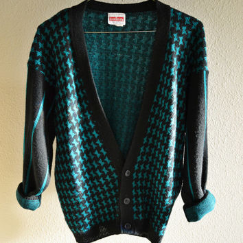 Blue and Black Cardigan Sweater Oversized 90s Vintage M