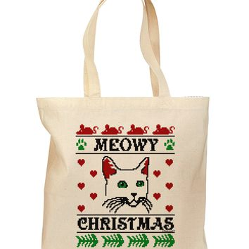 Meowy Christmas Cat Knit Look Grocery Tote Bag by TooLoud