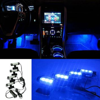 4 in1 LED Car Atmosphere Lights Blue Interior Decorative Lamp Auto Decoration For Toyota Focus Car Charger Adapter CY281-CN