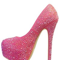Mascotte Linda 03 High Heel Shoes Stilettos Pumps w/ Rhinestones Lipstick Pink