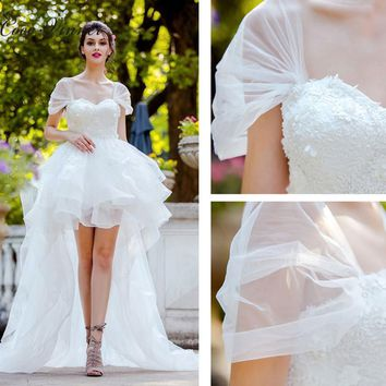 C.V Puff Sleeves Lace Embroidery Low/High Short Wedding Dress Pearls Beads Lace Up Above Knee Plus Size Sweet Wedding Gown W0333