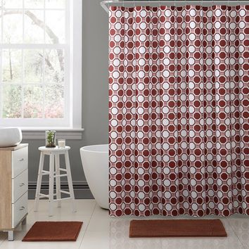 "Royal Bath Geometric Tiles Embossed Microfiber Fabric Shower Curtain - 72"" x 72"" - Burgundy"
