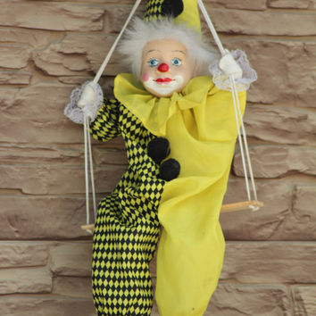 Clown Doll, Clown Figurine, Clown on a Swing, Circus Clown, String Puppet, Yellow Costume, Porcelain