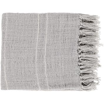 Traveler Open Weave Fringe Throw Blanket - Grey