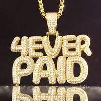 14k Gold Finish Custom Forever Paid Boss Iced Out Pendant Chain