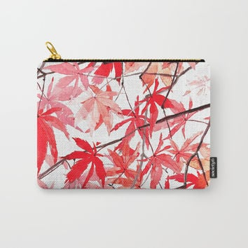 red orange maple leaves watercolor painting 2 Carry-All Pouch by Color And Color