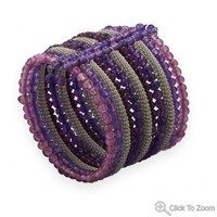 Flex Cuff Fashion Bracelet with Purple and Pink Glass Beads