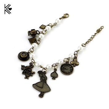 Free Shipping Movie Alice in Wonderland Charm Bracelet High Quality Bracelet Vintage Jewelry For Fans Gift For Women Accessories