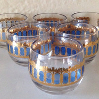 Mid Century Modern Gold Decorated Culver Lowball Roly Poly Glasses Set of 6 Retro Barware Glassware Blue and Gold