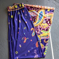 Purple Paisley Straight Skirt