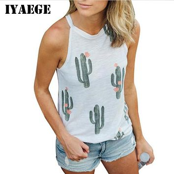 IYAEGE Sexy Sleeveless Print Green Plant Cactus T Shirt Women Tops Tee Kawaii T-Shirt Female Summer Beach Casual Tshirt Blusas