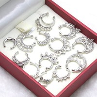 13 Pcs Silver/Gold Pierced Rhinstone Nose Hoop Nose Rings Fake Septum Clicker Body Piercing Jewelry Hanger Clip On Jewelry