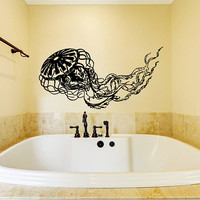 Jellyfish Wall Decal, Jellyfish Wall Sticker, Jellyfish Bathroom Wall Decor, Jellyfish Wall Design, Beach House Decor, Marine Wall Art se040