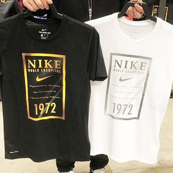 Nike Dri-FIT Banner Basketball Sports Casual Breathable Loose T-Shirt Short Sleeve Black/white