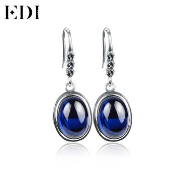 Sterling Silver 925 Earrings with Blue Round Natural Gemstone Women's Earring Thai Silver Retro Fine Jewelry For Woman Gift 2017