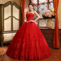 2015 Best Selling Ball Gown Lace Tulle Red Wedding Dress Chinese Style Cheap China Bridal Gown Online Store