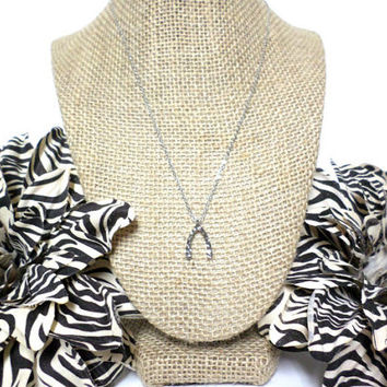 Dainty silver tiny hammered wishbone charm pendant layering choker necklace, gift