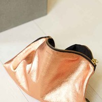 BAGGU Metallic Leather Clutch- Red One