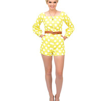 1960s Style Neon Yellow & White Polka Dot Belted Romper