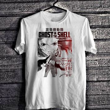 Men 2018 Brand Clothing Tees T Shirt Ghost In The Shell T-Shirt, Anime, Japanese, Akira, Japanimation White Tee Cheap T Shirts