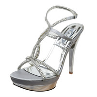 Womens Dress Sandals Strappy Rhinestone Drop High Heel Dress Shoes Silver SZ