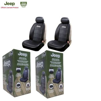 Licensed Official New Jeep Elite Mopar Black Car Truck Synthetic Leather Sideless Seat Covers Set