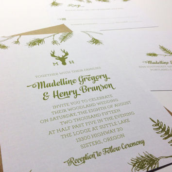 Printable Wedding Invitation - Moose Lodge - Rustic Mountain Inspiration - Hand Drawn - Elk Monogram - Pine Bows - Linen Overlay