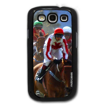 Horse Race with Jockeys Turf Track - Protective Designer BLACK Case - Fits Samsung Galaxy S3 SIII i9300