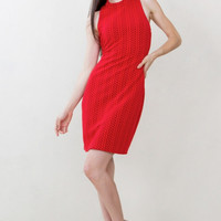 Sugarlips Love On Top Textured Knit Sleeveless Red Dress