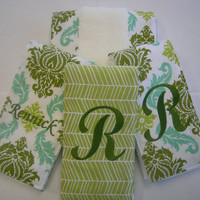 Damask and Herringbone Embroidered Set of 4 Burp Cloths