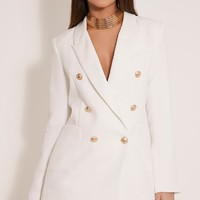 Pari White Double Breasted Military Style Blazer - Coats & Jackets - PrettylittleThing | PrettyLittleThing.com