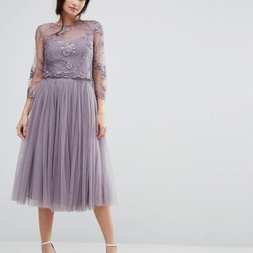 Little Mistress Embroidered Lace Midi Dress with Tulle Skirt at asos.com