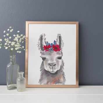 Boho Whimsical Llama Painting Art Print