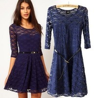 Long sleeve lace stitching with belt cultivate one's morality dress