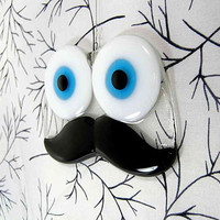 Black Glass Moustache with Blue Googly Eyes