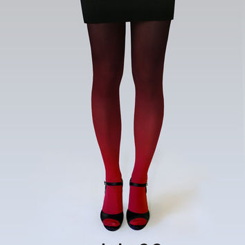 Ombre tights red-black