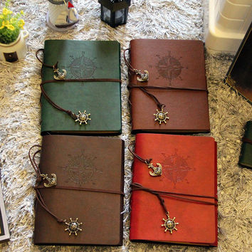 DIY 8 Inch Leather Vintage Handmade Retro Spiral Binding Craft Photo Albums for Wedding Family Scrapbooking LB1543