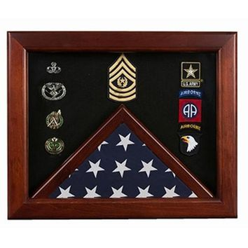 Military Flag medal display case, Mahogany wood for 3x5 flag Hand Made