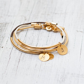 Leather initial gold bracelet - gold tube bar personalized jewelry stamped wedding bridesmaid gift bridal tiny bangle friendship charm minim