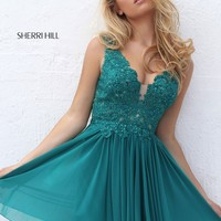 Sherri Hill 50756 Plunge Neck Lace Dress | RissyRoos.com