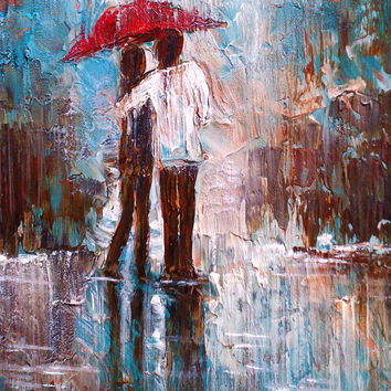 Under One Umbrella ORIGINAL PAINTING Abstract Painting Acrylic Painting Office Décor Artwork Wall Art  16x20 wedding gift anniversary gift