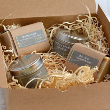Gift Set mens soy candles handmade soap by plainjbodyandhome