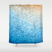Artistic Shower Curtain - Sunny Day  curtain blue, yellow,  ocean, waves, island travel, cruise, sea, art, coastal decor, bath, home