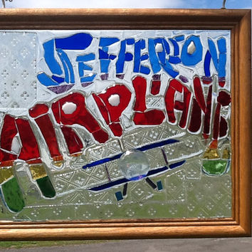 Jefferson Airplane Stained Glass Mosaic Window Art / Sun Catcher OOAK Handmade, 70's icon, Grace Slick, Rock Band, Music, Unique Gift Idea
