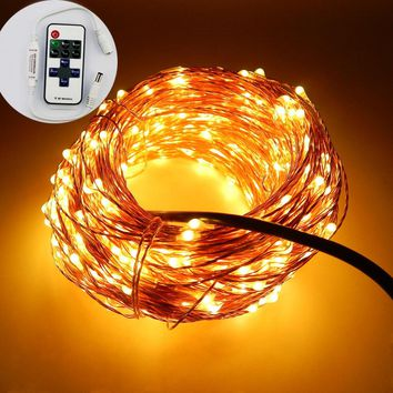 33FT 10M 100 Leds Copper Wire Garden LED String Starry Light Fairy lights+6V Power Adapter(UK US EU AU Plug)+Remote Control