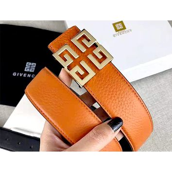 Givenchy 2019 new simple wild metal letter buckle belt gold