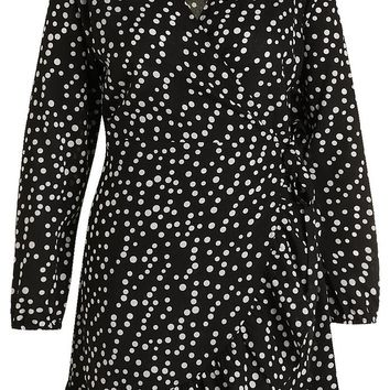 Plus Ruffle Spot Wrap Dress | Boohoo