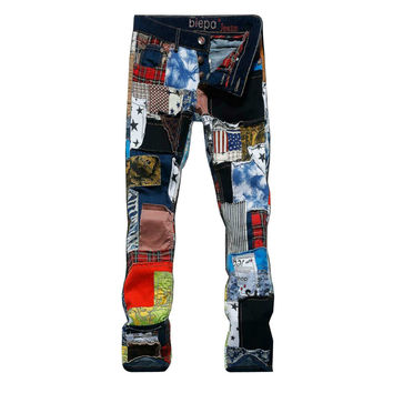 2015 New Arrival Patchwork Colorful Ripped Skinny Jeans For Men Summer Slim  jean True Religious Jeans Cala Jeans Masculina
