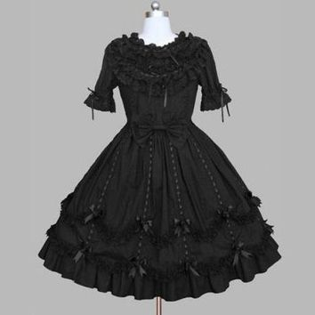 Japan cosplay vintage gothic punk dark black lolita gilr's dress ribbon bow black embroidery lace spring dress
