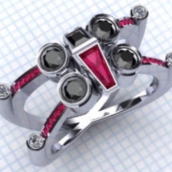 Star Wars  X Wing Tie Fighter Lab Ruby, Diamond and Black Diamond Ring